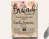 Spring Bridal Shower Invitation Brunch Champagne Bubbly Floral Burlap Roses
