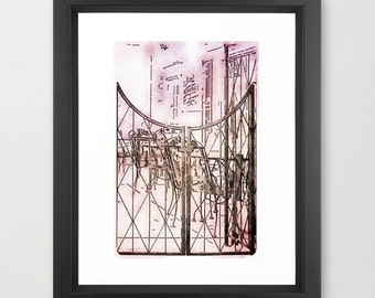 Wall Decor Photograph Quaint French Bistro Cafe