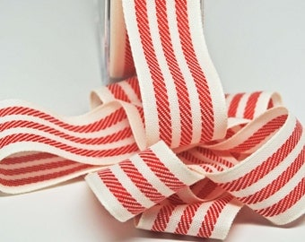 Woven Stripe Ribbon -- 1.25 inches -- Red Ivory Cream
