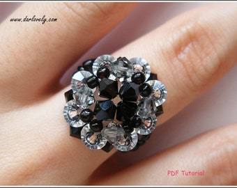 Beaded Ring PDF Pattern - Elegant Black Ring (RG070) - Beading Jewelry PDF Tutorial (Digital Download)