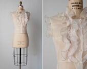 RESERVED // vintage 1950s blouse / 50s nylon blouse / sheer ruffle blouse / Glossodoris blouse