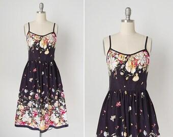 vintage 1960s dress / 50s Lanz dress / 50s floral dress / Falling Flowers dress