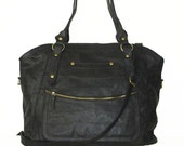 "ANTHRACITE Black Soft Leather Tote Handbag // Weekender // Travel Bag // Cross-body Bag Magui bis xxl fits 17"" laptop"