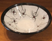 Handmade Ceramic Black Widow Spider Candy Dish for Halloween Decoration