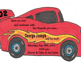 Personalized - Red - Race - Car - Birthday - Party - Invitations - Dragster - Stock Car - Handcut - Sara Jane
