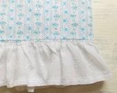 Vintage Handmade Pillowcase / Ruffled Blue Floral