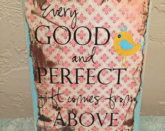 Every Good and Perfect Gift-Wooden Block-Wooden Sign