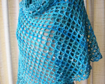 Hand Crochet Triangle Lagoon Scarf Shawl Wrap in Vegan Anti Pilling Acrylic / Summer Beach Shawl
