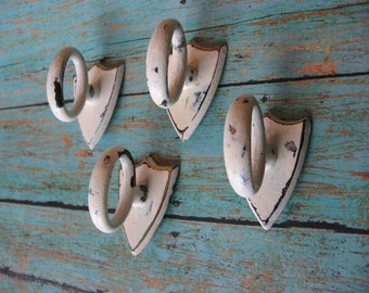 2 Small Finger Pulls Vintage Shield Distressed Winter White Cream Drawer Pulls Drawers or Cabinets Ready to Ship B-3