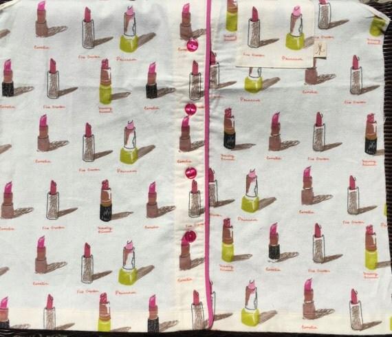 SALE : Heather Ross Munki Munki PJ top front panel Flannel Lipsticks