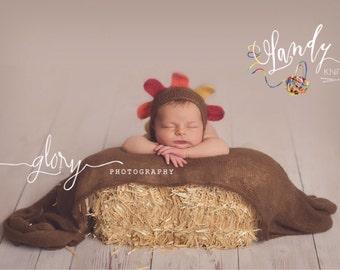 Newborn photo prop, turkey bonnet, turkey hat
