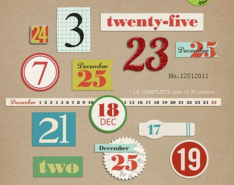 December Days Numbers Digital Scrapbooking elements for journaling, Christmas, Holiday INSTANT DOWNLOAD