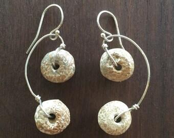 Fossilized Bone Sterling Silver Earrings