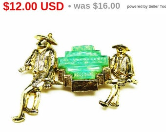 Jade Green Brooch - Two Asian Farmers Pin - Vintage Mid Century Figurals in Goldtone