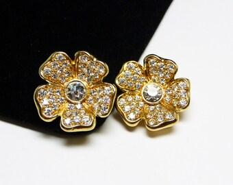 Joan Rivers Flower Earrings - Clip on Rhinestone Earrings on Goldtone - Designer Signed