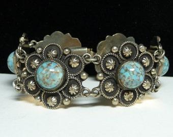 Vintage Southwesten Bracelet - Conch Style Links with Faux Turquoise Cabs - Signed ALP Vintage Link Design