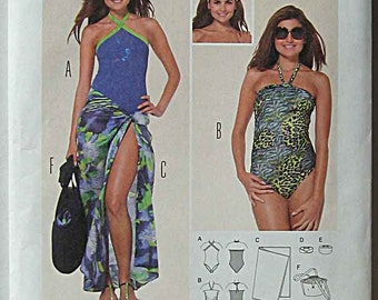 Misses' Beach Coordinates, One Piece Bathing Suit, Wrap, Bag and Headbands Burda 6963 Sewing Pattern UNCUT Sizes 6-18
