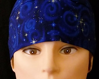 Blue w Swirls and Gold Stars Skull Cap, Chemo Cap, Surgical Cap, Alopecia, Head Wrap, Helmet Liner, Men, Women, Hat, Hair Loss, Do Rag