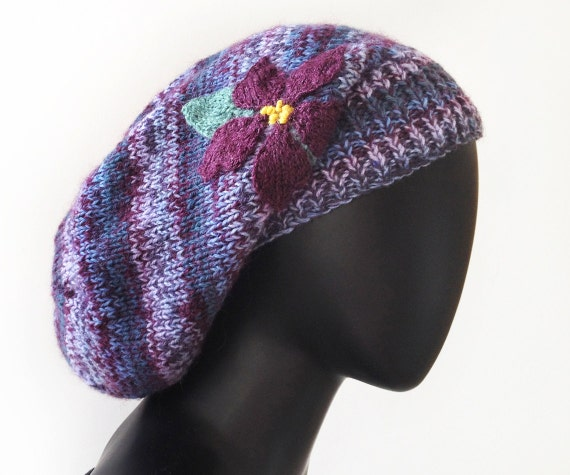 Violet Slouch Hat - Warm & Cozy Knitted Purple Woolly Winter Hat • Purple Knitted Slouchy Hat • Gift for Mum - Super stylish winter hats