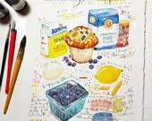 Custom recipe art, Your favorite recipe, Original watercolor painting, Heirloom recipes, Art gift, Kitchen decor, Personalized kitchen