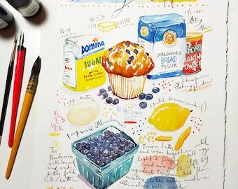 Custom recipe art, Original watercolor painting, Heirloom recipes, Personalized kitchen decor, Art gift, Customized recipe illustration