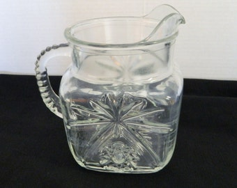 Early American Prescut Glass EAPC Star of David Square Pitcher by Anchor Hocking