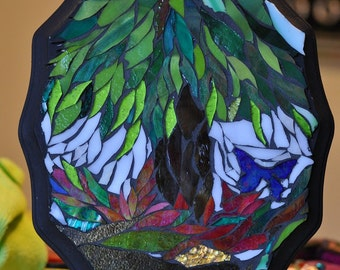 Butterfly Mosaic Tree Mosaic Glass Art