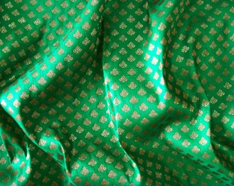 brocade fabric, silk brocade material, sari blouse fabric, gold brocade fabric, indian wedding fabric, banaras fabric  - 0.75 yard - br087