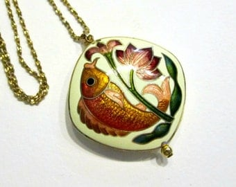 Vintage Cloisonne Pendant Necklace Gold Fish Flower Necklace Asian Square Colorful Enamel Pendant Gift for Her Under 50 Gift Idea