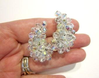 Vintage Crystal Clip Earrings Wedding Jewelry Aurora Borealis Lugana Signed Clip Earrings Bridal Designer Under 25 Jewelry