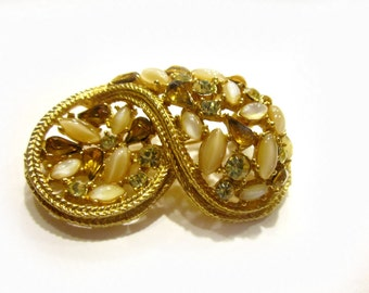 "Signed Gold Brooch Signed Art Rhinestone Vintage Pin 2"" Large"