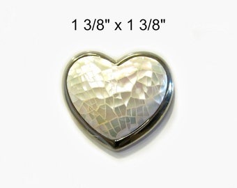 Mother of Pearl Heart Brooch Magnet Upcycled Vintage Jewelry Stocking Stuffer Heart Kitchen Magnet Decor