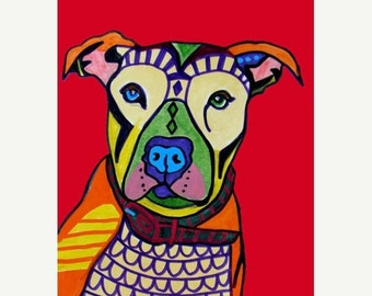 Marked Down 50% - Pit Bull art Painting Modern Abstract Print Poster by Heather Galler (PR9976)