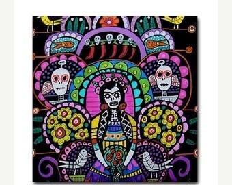Day of the Dead Art Ceramic Tile Frida Kahlo Mexican Folk Art tree of life