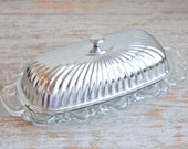 Vintage Lidded Butter Dish, Glass and Silver Butter Plate, Fancy Glass Butter Tray, Ornate Silver Metal, Holiday Fine Dining, Hostess Gift,