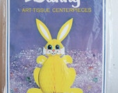 Pink and Yellow Tissue Paper Bunny Rabbit Centerpiece, 1970s 70s 3d Rabbit, Vintage Easter Decoration, A Beistle Creation, Kitsch Spring