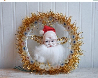 Vintage Santa Clause Light Up Wreath Decoration, Kitsch Christmas Decor, Retro Xmas Wall Hanging, Santa Plaque, Weatherproof, Indoor Outdoor