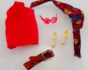 Good Sports Shirt Bandana Belt Shoes Sun Glasses Outfit set Vintage Mod Barbie Doll Mattel Clothes Accessories