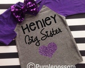 Big Sister Shirt with Sparkly Glitter Heart Choice of Color Big Sister Raglan Shirt Pregnancy Reveal Big Sister Shirt Glitter Big Sister