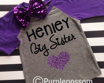 Big Sister Shirt with Sparkly Glitter Heart Choice of Color Big Sister Raglan Shirt Pregnancy Reveal Big Sister Shirt Glitter Big Sister