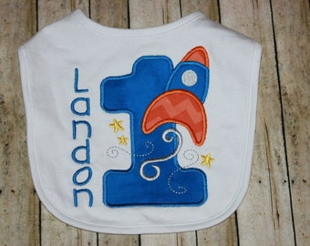 1st Birthday Bib, Spaceship Bib, Smash Cake Bib, Boy Birthday Bib, Personalized Baby Bib, Bodysuit