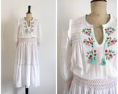Vintage 70's EMMANUELLE KHANH PARIS White Cotton Crepon Embroidered Midi Dress / Small to Medium