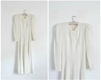 Antic Ivory Crepe Wedding Dress / Vintage 1930s