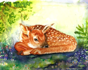 "Italian  Art  Original Watercolor ""Fawn"" Italy Animal Woodland   Italian Landscape & Scenic"
