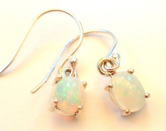 Welo Opal Earrings, Ethiopian Color Play Opals, Blue, Pink, Green, Orange, Yellow Fire, Great Gift