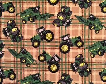 A John Deere Farm Tractors On Brown And Cream Plaid Cotton Fabric By The Yard Free US Shipping
