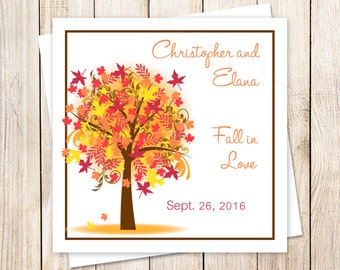 PRINTABLE personalized wedding favor tags, gift tags . autumn tree . fall in love . stickers . leaves . You Print
