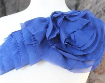 Nice ruffled  applique yoke  royal blue color 1 pieces listing