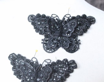 Cute beaded  butterfly applique black color 1  piece listing