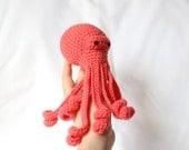 Salmon Pink Amigurumi Crochet Octopus Kawaii Plush
